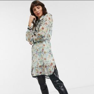 Topshop IDOL shirt dress floral size 2